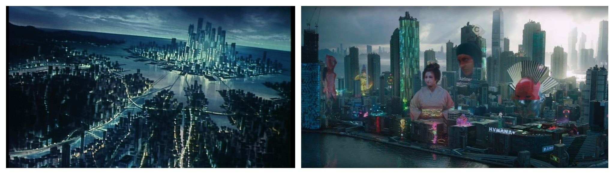 Comparison Between The Cityscape 1995 Ghost In Shell Animated Film Left And Live Action Version Right