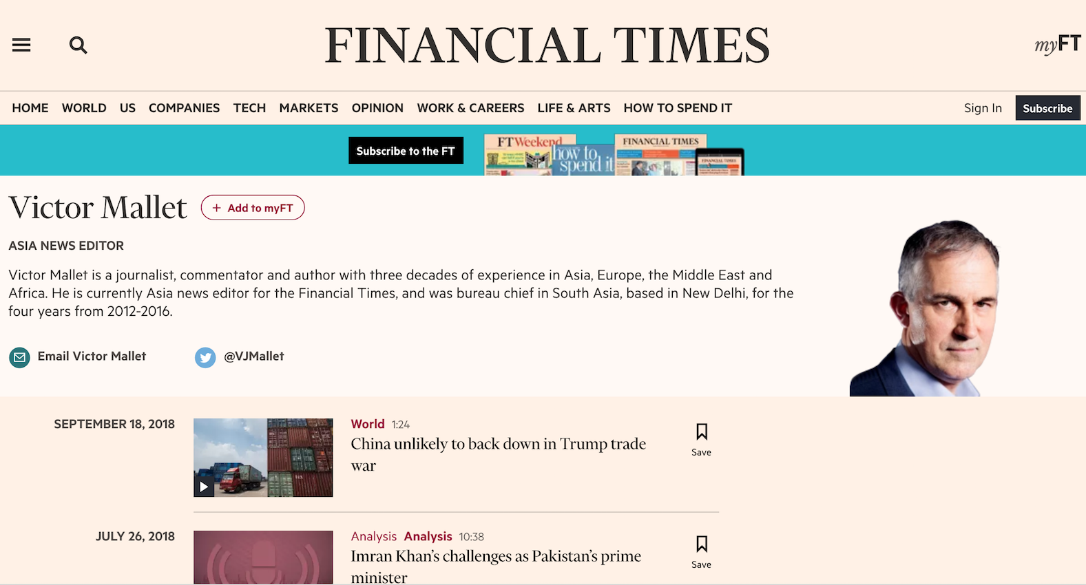Refusal Of Financial Times Reporters' Visa Sign Of